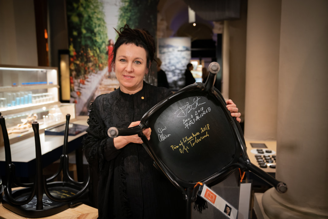 Olga Tokarczuk after autographing a chair for the Nobel Prize Museum