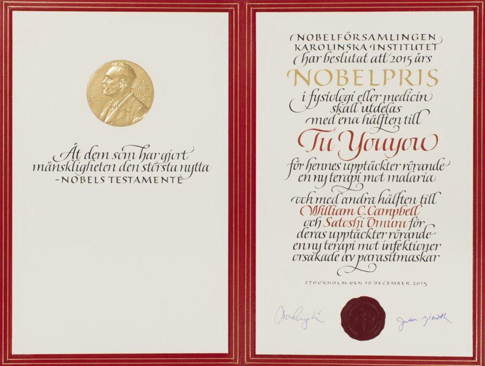 Youyou Tu - Nobel Diploma
