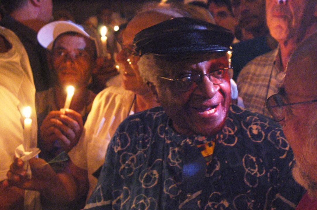 Desmond Tutu leading a peace march