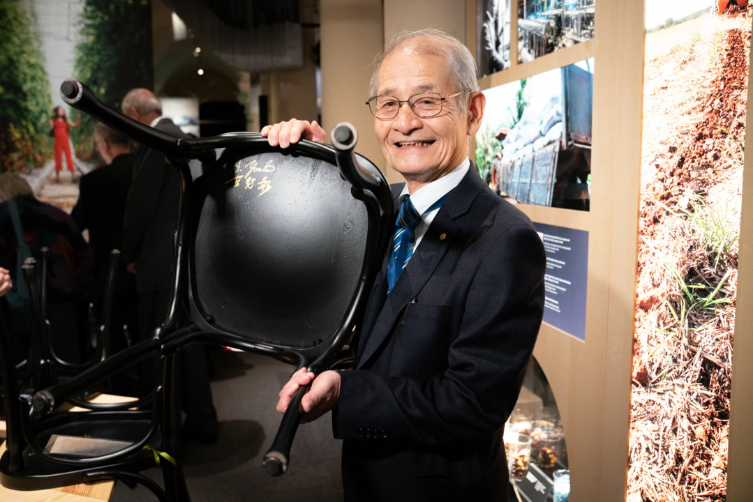 Akira Yoshino after autographing a chair for the Nobel Prize Museum