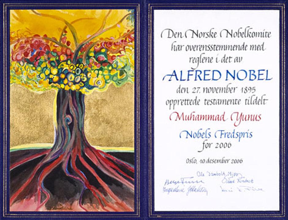 Muhammad Yunus - Nobel Diploma