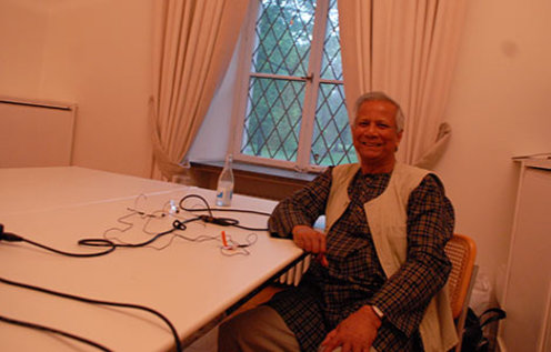 2006 Nobel Peace Prize Laureate Muhammad Yunus during a podcast recording at the Nobel Foundation in Stockholm, 19 May 2014