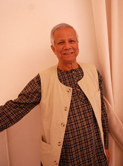 2006 Nobel Peace Prize Laureate Muhammad Yunus during a visit to the Nobel Foundation in Stockholm