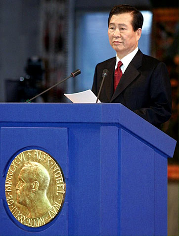 South Korean President Kim Dae Jung gives his Nobel Lecture after accepting the 2000 Nobel Peace Prize.