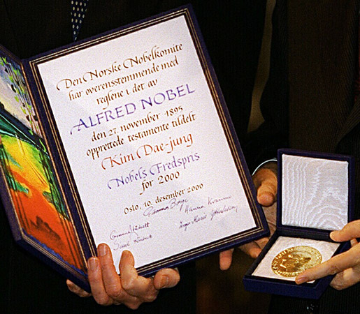 The 2000 Nobel Peace Prize diploma and medal.