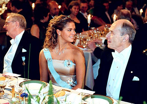 Princess Madeleine of Sweden seated between Nobel Laureate in Physiology or Medicine Paul Greengard  and Arvid Carlsson at the Nobel Banquet.