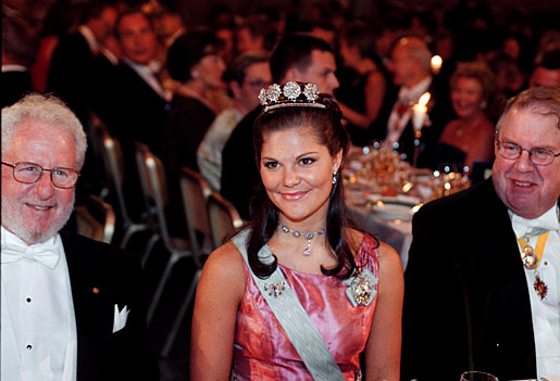 Swedish Crown Princess Victoria with Nobel Laureate in Chemistry Alan J. Heeger and Marcus Storch, Deputy Chairman of the Nobel Foundation