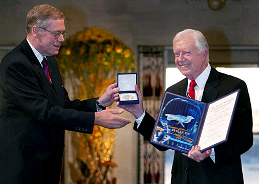 Jimmy Carter receiving his Nobel Peace Prize