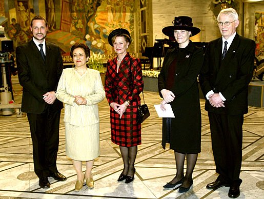 Norway's Crown Prince Haakon, Nobel Laureate Shirin Ebadi, Queen Sonja of Norway, Crown Princess Mette-Marit, and Ole Danbolt Mjøs