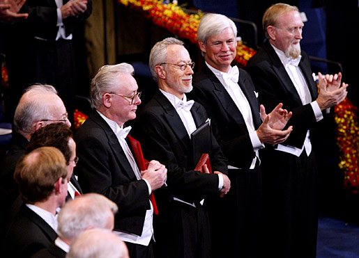 Right to left: Laureates in Economic Sciences Clive W.J. Granger and Robert F. Engle, Literature Laureate John M. Coetzee, and Medicine Laureate Sir Peter Mansfield