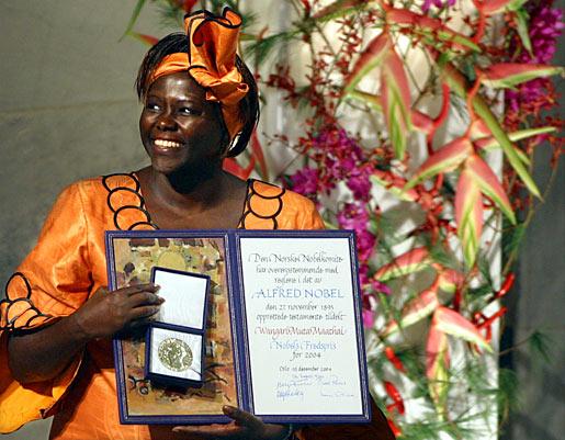 Wangari Maathai with her Nobel Medal and Diploma