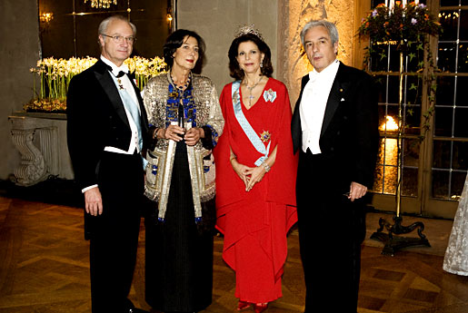 From left to right: His Majesty King Carl XVI Gustaf of Sweden, Mrs Marie Jose Fert, Her Majesty Queen Silvia and Albert Fert.