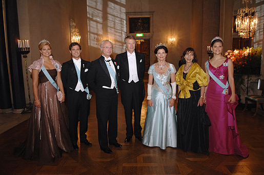 Princess Madeleine, Prince Carl Philip, His Majesty King Carl XVI Gustaf of Sweden, Jean-Marie Gustave Le Clézio, Her Majesty Queen Silvia, Mrs Jemia Le Clézio and Crown Princess Victoria at the Nobel Banquet
