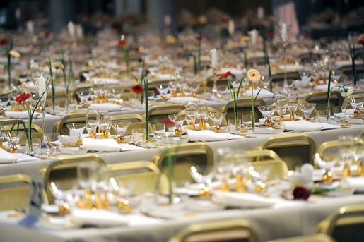 The more than 60 tables in the Blue Hall are ready to receive the about 1,350 banquet guests