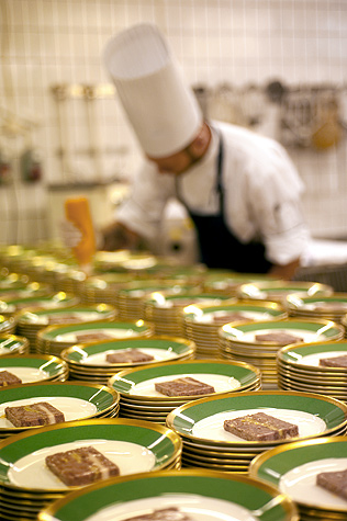 In the kitchen, 45 chefs prepare the starter for the evening's dinner