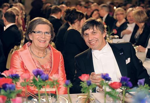 Nobel Laureate in Physics Andre Geim, seated beside Mrs Gunilla Storch