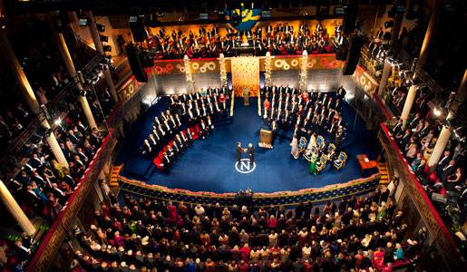 A bird's eye picture of the Nobel Prize Award Ceremony in the Stockholm Concert Hall on 10 December 2012