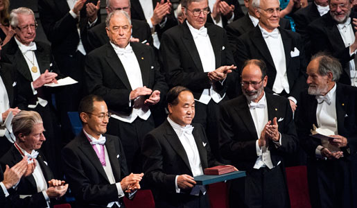 Mo Yan among the other 2012 Nobel Laureates on stage