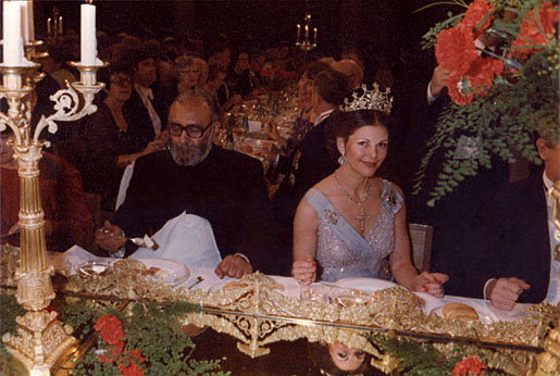 Abdus Salam and HM Queen Silvia of Sweden at the Nobel Banquet in the Stockholm City Hall, Sweden, on 10 December 1979