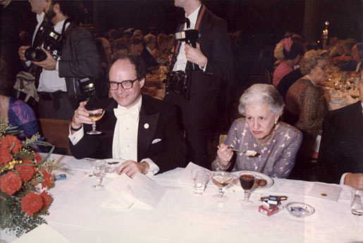 At the Nobel Banquet in the Stockholm City Hall, Sweden, on 10 December, Walter Gilbert raises his glass in a toast