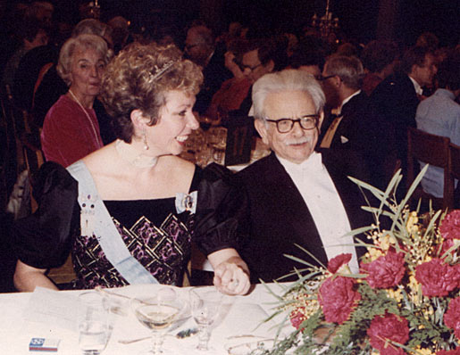A smiling Princess Christina of Sweden is seated beside Elias Canetti at the table of honour at the Nobel Banquet