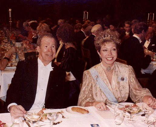 Princess Christina of Sweden and Robert Bruce Merrifield at the Nobel Banquet in the Stockholm City Hall