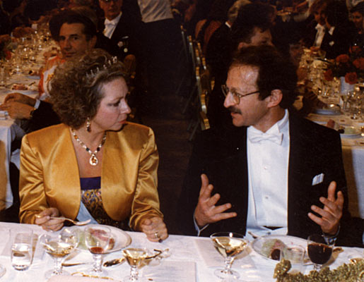 Princess Christina of Sweden listens attentively to Harold E. Varmus at the Nobel Banquet on 10 December 1989.