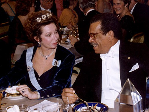 Princess Christina of Sweden in conversation with Derek Walcott at the Nobel Banquet in the Stockholm City Hall