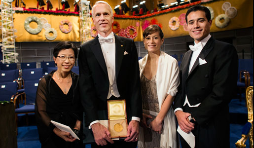 Brian K. Kobilka with wife Tong Sun Kobilka, daughter Megan and son Jason, after the Nobel Prize Award Ceremony at the Stockholm Concert Hall