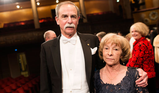 David J. Wineland with his wife Mrs Sedna Quimby after the Nobel Prize Award Ceremony at the Stockholm Concert Hall