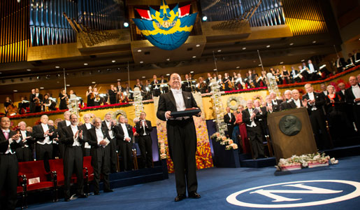Mo Yan after receiving his Nobel Prize at the Stockholm Concert Hall