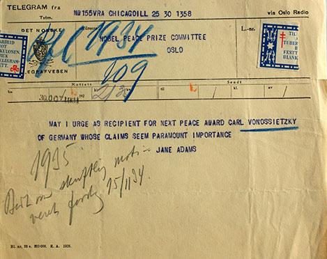 Jane Addams nomination for Carl von Ossietzky
