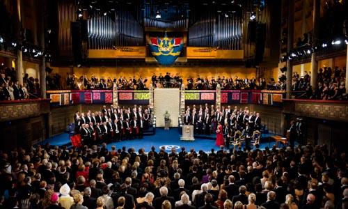 An overview of the 2013 Nobel Prize Award Ceremony at the Stockholm Concert Hall.