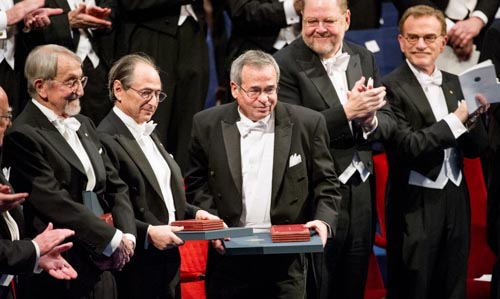 Arieh Warshel among the Nobel Laureates at the Stockholm Concert Hall
