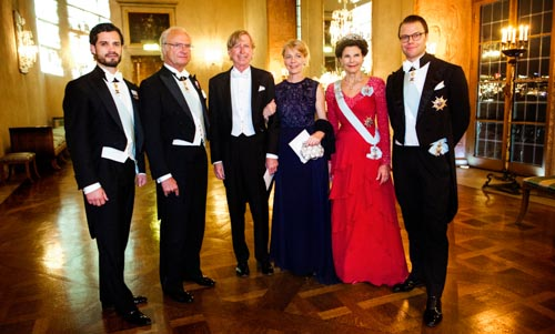 The Swedish Royal Family receive the Laureates and their significant others in the Prince's Gallery after the Nobel Banquet. From left to right: Prince Carl Philip, His Majesty King Carl XVI Gustaf of Sweden, Mr David Connelly, Mrs Jenny Munro, daughter of Literature Laureate Alice Munro, Her Majesty Queen Silvia and Prince Daniel.