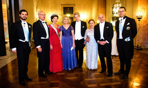 The Swedish Royal Family receive the Laureates and their significant others in the Prince's