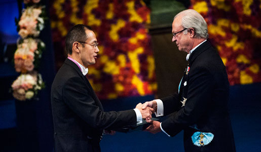 Shinya Yamanaka receiving his Nobel Prize from His Majesty King Carl XVI Gustaf of Sweden at the Stockholm Concert Hall