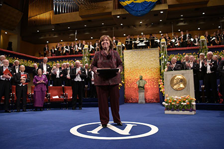 Svetlana Alexievich after receiving her Nobel Prize at the Stockholm Concert Hall