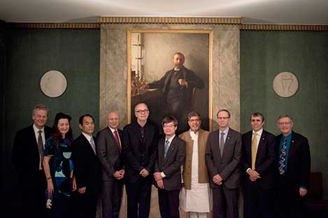 Ten of the thirteen Nobel Laureates of 2014 assembled at the Nobel Foundation in Stockholm on 12 December 2014. From left: Edvard I. Moser, May-Britt Moser, Shuji Nakamura, Stefan W. Hell, Patrick Modiano, Hiroshi Amano, Kailash Satyarthi, Jean Tirole, Eric Betzig and William E. Moerner.