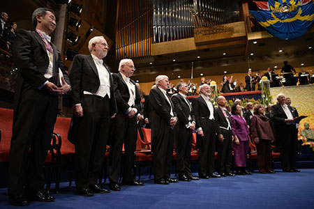Nobel Laureates at the Nobel Prize Award Ceremony. From left: Physics Laureates Takaaki Kajita and Arthur B. McDonald, Chemistry Laureates Tomas Lindahl, Paul Modrich and Aziz Sancar, Medicine Laureates William C. Campbell, Satoshi Ōmura and Youyou Tu, Literature Laureate Svetlana Alexievich and Laureate in Economic Sciences Angus Deaton.