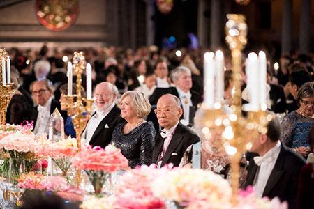 Two Medicine Laureates at the table of honour: William C. Campbell and Satoshi Ōmura.