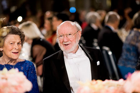 William C. Campbell beside his wife, Mrs Mary Campbell, at the table of honour of the Nobel Banquet.