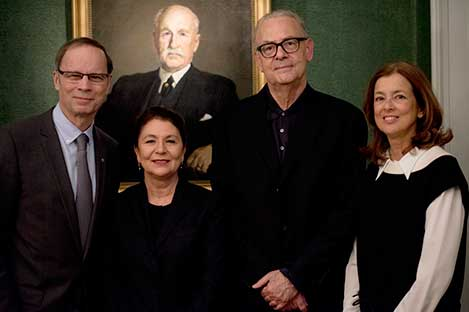 The French Nobel Laureates of 2014 with their wives assembled at the Nobel Foundation in Stockholm on 12 December 2014. From left: Jean Tirole, Mrs Dominique Modiano, Patrick Modiano and Mrs Nathalie Tirole.