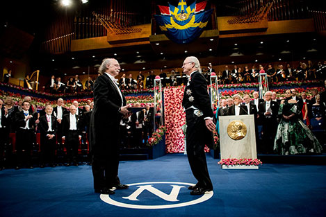 F. Duncan M. Haldane  receiving his Nobel Prize from H.M. King Carl XVI Gustaf of Sweden