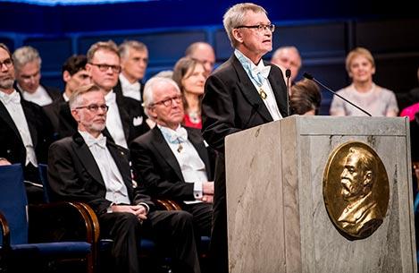 Professor Carl-Henrik Heldin delivering the opening address during the Nobel Prize Award Ceremony at the Stockholm Concert Hall