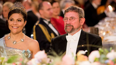 Sweden's Crown Princess Victoria and J. Michael Kosterlitz at the table of honour at the Nobel Banquet