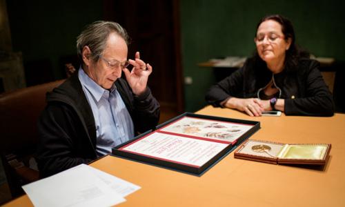 Michael Levitt and his wife Rina Levitt visit the Nobel Foundation