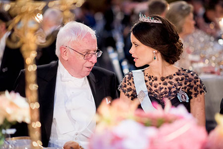 Tomas Lindahl and Sweden's Princess Sofia at the table of honour at the Nobel Banquet, 10 December 2015