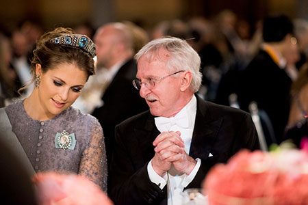 Sweden's Princess Madeleine and Paul Modrich at the table of honour at the Nobel Banquet on 10 December 2015.