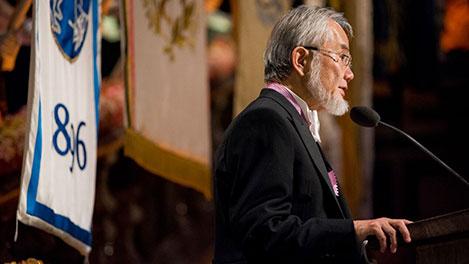 Yoshinori Ohsumi delivering his banquet speech.